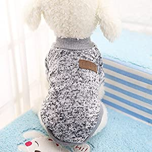 Idepet Pet Dog Classic Sweater, Fleece Coat for Small,Medium,Large Dog,Warm Pet Dog Cat Clothes,Soft Puppy Customes 2 Color (L, Grey)
