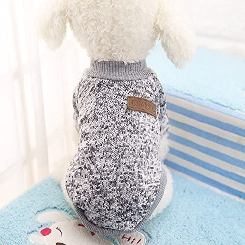 Idepet Pet Dog Classic Knitwear Sweater Fleece Coat Soft Thickening Warm Pup Dogs Shirt Winter Pet Dog Cat Clothes Puppy Customes Clothing for Small Dogs (Read The Size Chart First) 47