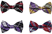 Adjustable Men's Pre-tied Classic Plaid Bow Ties More Color Options By Avant Men
