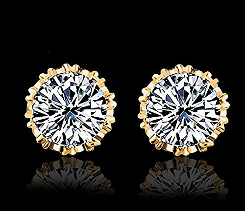 Fashion Crown 18k Gold Plated Earrings Women Men Sterling Silver Crystal Jewerly Stud Earrings by Anzona (Image #3)