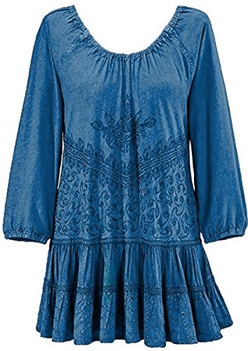 (Agan Traders 304 B Scooped Neck Ruffle Hem Bohemian Tunic [ Blue;)