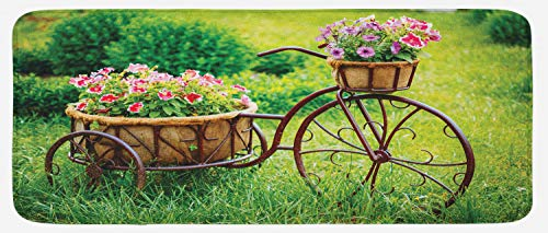 Ambesonne Flower Kitchen Mat, Vintage Antique Rusty Bike with a Basket Flowers in a Spring Time Garden Photo Print, Plush Decorative Kithcen Mat with Non Slip Backing, 47 W X 19 L Inches, Multicolor