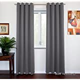 "NIM Textile Grommet Curtains Thermal Insulated Blackout Drapes, 110""W x 84""L, 2-Panels Set, Dark Gray, Sofiter Collection"