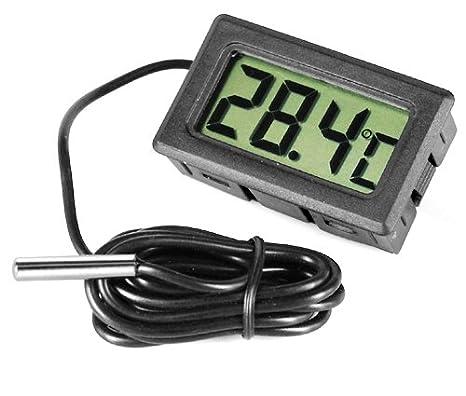 Desconocido None Gadgetpooiuk - Termómetro digital para nevera y congelador, de acero y de color negro: Amazon.es: Hogar