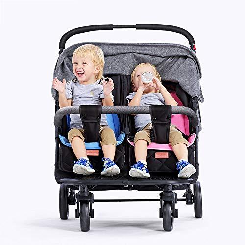 Side by Side Double Stroller for Infant Toddler Tandem Stroller Foldable Baby Stroller, Adjustable Backrest, Push Handle and Footrest,Gray
