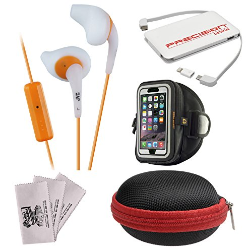 JVC HA-ENR15 Gumy Sport Headphones with Remote & Mic (White) + Power Bank + Hard Case + Smartphone Sport Armband + Kit -