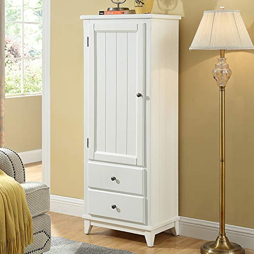 SW White Rustic Wood Storage Cabinet Wardrobe Home Furniture Organizer with 2 Adjustable Top Shelves and 2 Bottom Drawer