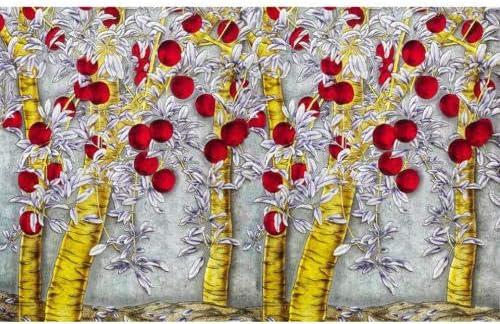 Ljjlm 3D天井壁画壁紙カスタム写真不織彫刻ゴールデンアップルツリー装飾絵画3D壁壁画用リビングルーム-120X100CM
