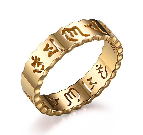 Stainless Steel Gold Plated Hollow Om Mani Padme Hum Buddha Symbol Mantra Ring Bands for Women, Size 6