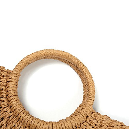 verano bolso ronda de Artesanal bolsa bolsa Khaki mujeres paja tejida mimbre para tejida playa mango xBwxqIz4
