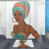 BAIHUISHOP African Women 3-Piece Bathroom Set, Machine Washable for Everyday Use,Includes 60x72 Inch Waterproof Shower Curtain, 12 Shower Hooks and 1 Non-slip Bathroom Rug Carpet - Set of 3