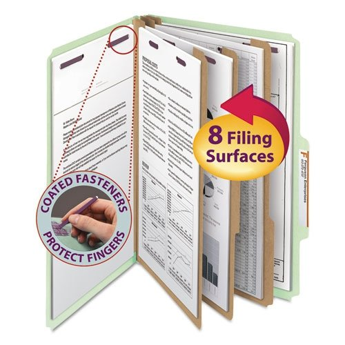 lassification Folders With SafeSHIELD(R) Coated Fasteners, Legal Size, 3in. Expansion, 60% Recycled, Gray/Green, Box Of 10 (Gray Green 10 Box)