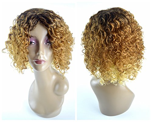 Leyee Stylish Gradient Blonde Short Bob Curly Wave Hair Kanekalon Fiber Synthetic Wigs 16 inches (Brown to (Deluxe Brown Dreadlock Wig)