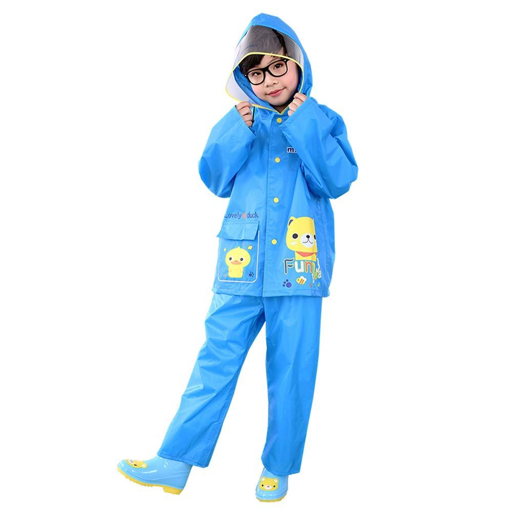 Impermeabile per bambini Grande Impermeabile del Ragazzo del Ragazzo del Bambino del Vestito del Ragazzo del Vestito del Ragazzo del Ragazzo (Color : Blue, Dimensione : L) Geyao