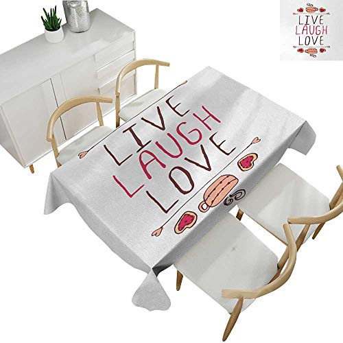 (Live Laugh Love,Wholesale tablecloths Valentines Day Theme Typographic Banner Heart Shaped Cookies and Tea Cup Rectangle tablecloths Multicolor 60