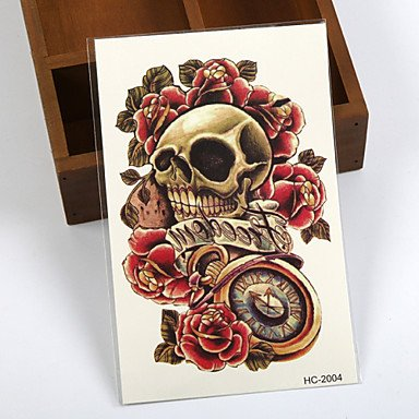 da99f227d1190 Image Unavailable. Image not available for. Color: HJLWST (1pcs) Temporary  Tattoo Hand/Skull,Rose,Pocket Watch/Waterproof