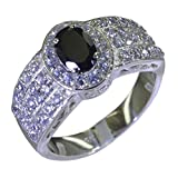 Gemsonclick Real Black Onyx Ring For Her Oval Shape Cluster Style Silver Handmade Size 5,6,7,8,9,10,11