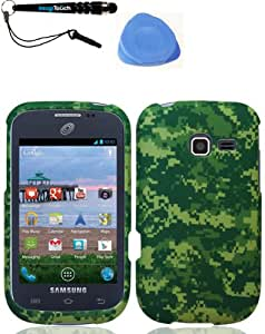 IMAGITOUCH(TM) 3-Item Combo Samsung R480c Freeform 5 Green Camo Snap On Hard Case Shell Cover Phone Protector Faceplate (Stylus pen, Pry Tool, Phone Cover)