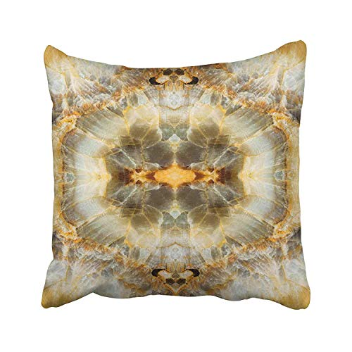 Guan Tong Yellow Onyx Stone Marble Brown Abstract Agate Architecture Banded Bands Bathroom Blotches Throw Pillow Covers 18x18 Inch Decorative Cover Pillowcase Cases Case Two Side