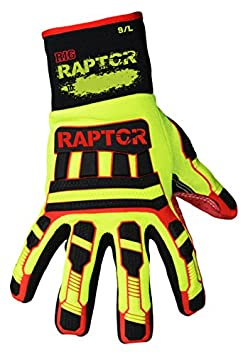 Large Rig Raptor L 1 Pair Azusa Safety RIG RAPTOR Heavy Duty Cut Resistant Impact Protection Textured Work Gloves