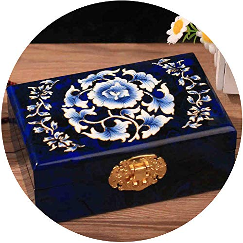 HAIHF Lacquer Jewelry Box, Chinese Inlaid Mother-Of-Pearl Jewelry Box, Ethnic Rectangular Wooden Lacquer Jewelry Box with Lid, Hand Painted Flowers on Blue