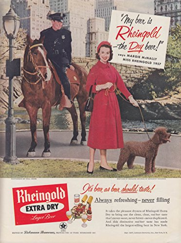 Miss Rheingold Beer Margie McNally ad 1957 poodle in Central Park cop on - Park Central Horses