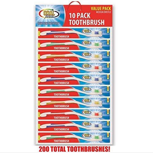 200 Pack Toothbrushes Individually Wrapped Standard Medium Bristle, for Travel, Hotel, Guests, Disposable use and More (100 Pack)