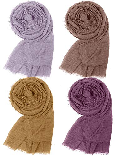 Cooraby 4 Pack Women Cotton Hemp Scarf Shawl Soft Long Scarves Lightweight Sunscreen Pashmina Hijab Scarf Muslin Scarves Outdoor Beach Towel Head Wraps, 4 Colors (Mixed 4 Colors A)