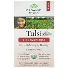 Organic India Tulsi Caffeine Free Tea, Cinnamon Rose, 18 Count (Pack of 6)