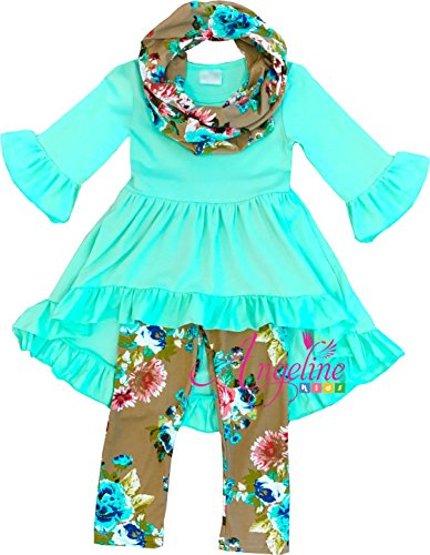 Angeline Boutique Clothing Spring Easter Vintage Floral Mint Green Scarf Set 6X/2XL (Outfit Size Girls 6x)