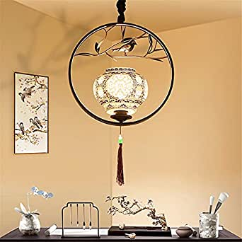 CGHYY Chinese Creative Personality Cage Bird Chandelier Dining Room Study Nordic Antique Restaurant Bar Lighting (, Black Diameter 40Cm
