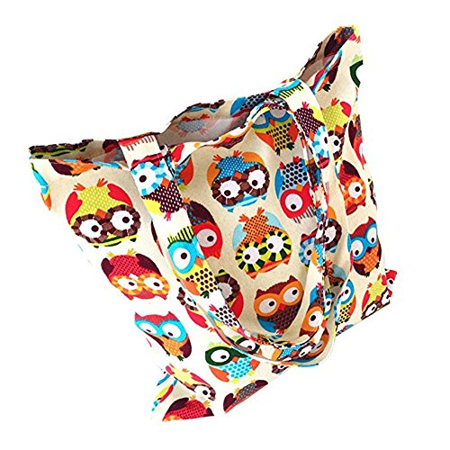 Handbag Beach Zipper Reusable Shoppers Grocery Bags for Shopping Bags Owl Print Tote Women Shoulder Natural Vikenner Canvas FO1USS