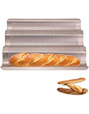10inch Baguette Pan, Non-Stick Carbon Steel French Bread Loaf Mold Oven Tray for Baking