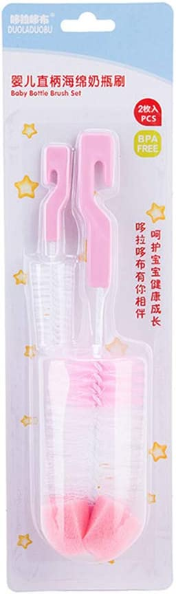 Baby 2-teilige Flaschenb/ürste und Saugerb/ürste mit Haken Zubeh/ör Reinigungsschwamm zuf/ällige Farbe