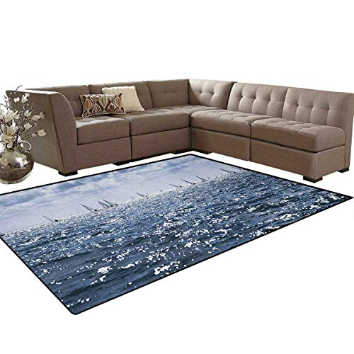 """Nautical,Rug,Group of Sailing Boats in The Sea Competition Game Racing Sports Mediterranean Landscape,Oriental Floor and Carpets,Blue Size:6'6"""" x9'"""