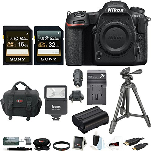 Nikon D500 DX-Format DSLR Camera (Body) with 48GB Card + Tripod + Battery and Charger + Accessory Bundle -  ANIKD500BK1