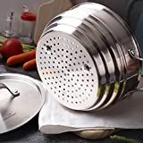 HOMI CHEF Matte Polished Nickel Free Stainless Steel Perforated Universal Steamer Insert for Pot (NICKEL & PTFE & PFOA FREE, 3 Ridges for 8