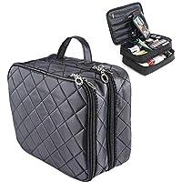 Double Layer Makeup Bag Volwco Black Waterproof Large Capacity Cosmetic Bag Portable Travel Toiletry Bag Organizer Professional Multifunctional Organiser For Women