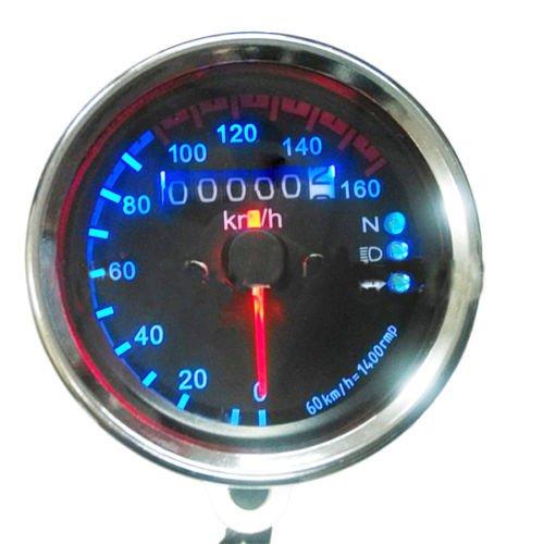 Yosoo Odomètre universel rétroéclairé à LED double indicateur pour moto Km/h