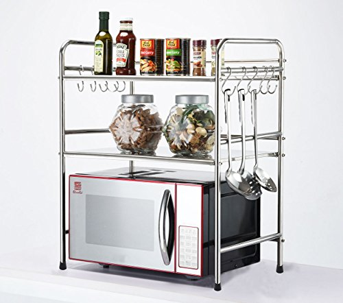 DEKDEJA Durable 2-Tier Microwave Oven Storage Rack Kitchen Tableware Shelves Counter and Cabinet Shelf with 10 Side Hooks