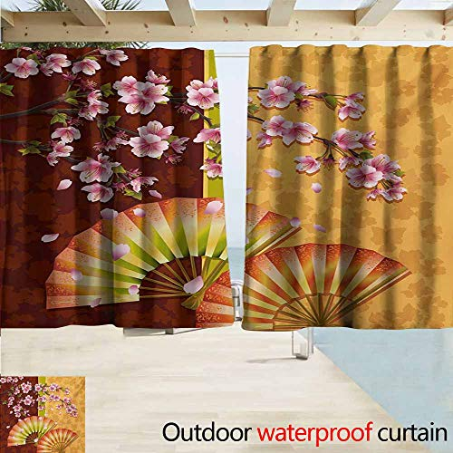 Steelers Ceiling Fan Decor - AndyTours Doorway Curtain,Floral Sakura Blooms with Japanese Hand Fan Figures Authentic Asian Design,Room Darkening, Noise Reducing,W55x63L Inches,Marigold Baby Pink Burgundy