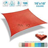 Patio Paradise 16' x 16' Red Sun Shade Sail Square Canopy - Permeable UV Block Fabric Durable Patio Outdoor - Customized Available