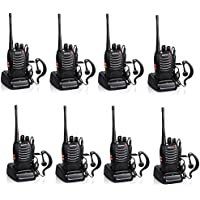 Baofeng BF-888S Rechargeable Long Range 5W Two Way Radio Walkie Talkies 16 Channel Handheld Radio Built in LED Torch Microphone With Earpiece(Pack of 8) 8 Pack