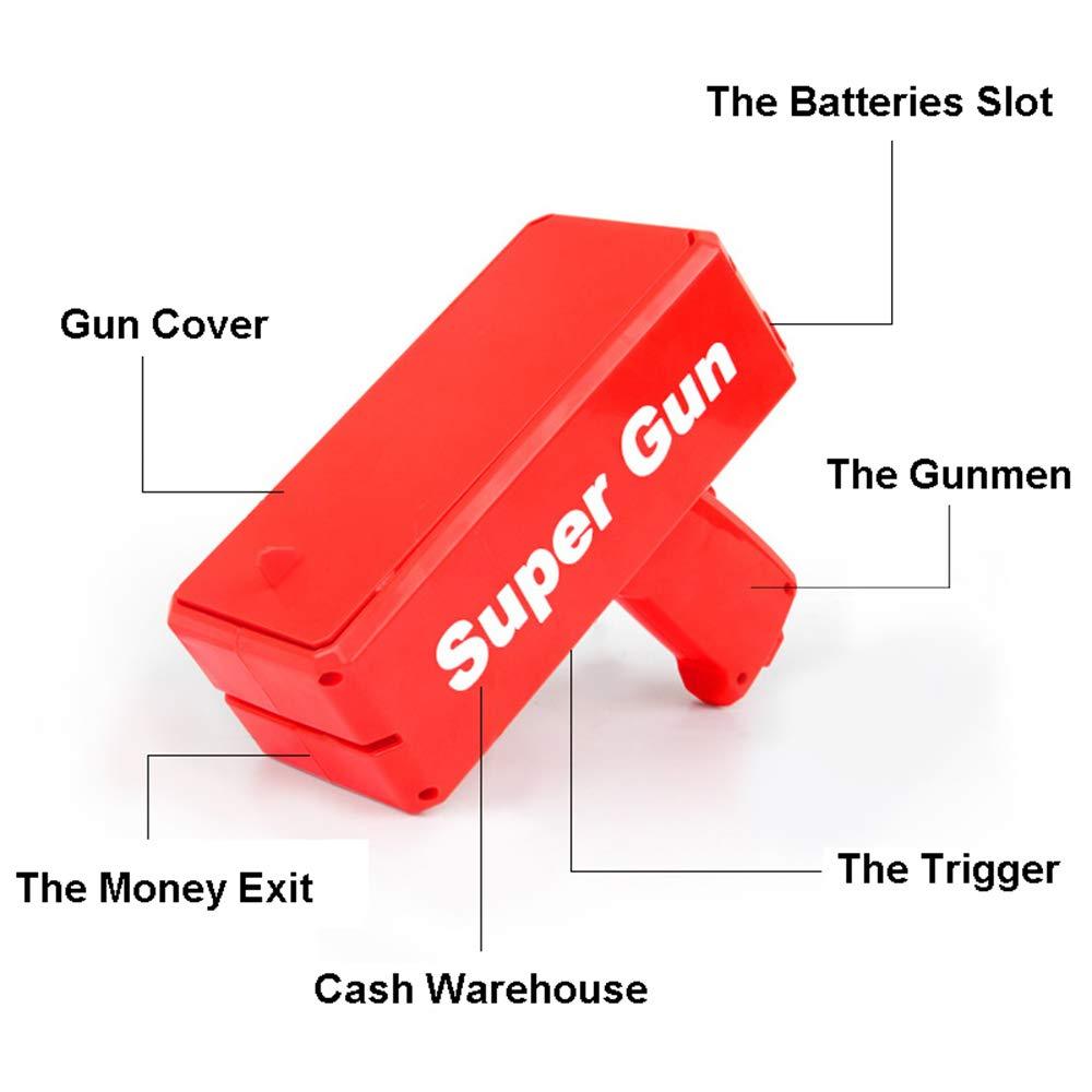 Sopu Make it Rain Money Gun Paper Playing Spary Money Toy Gun, Prop Money Gun with 100 Pcs Play Money Cash Gun Party Supplies (Money Gun) by Sopu (Image #3)
