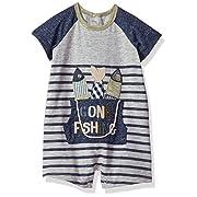 Mud Pie Baby Boys Fishing Bucket Short Sleeve Raglan One Piece Playwear Set, Gray, 9-12 Months