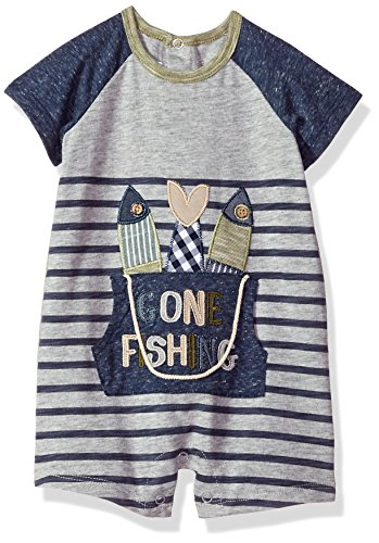 Mud Pie Baby Boys Fishing Bucket Short Sleeve Raglan One Piece Playwear Set