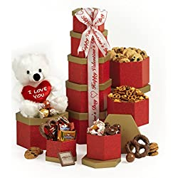 Broadway Basketeers Ruby Red Valentine's Day Gift Tower Chocolate and Candy Sweets Gourmet Valentine Gift Basket