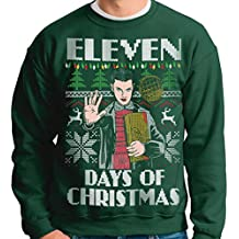 Vintage Fly Adult Ugly Christmas Sweater Eleven Days Of Christmas Pullover Sweatshirt