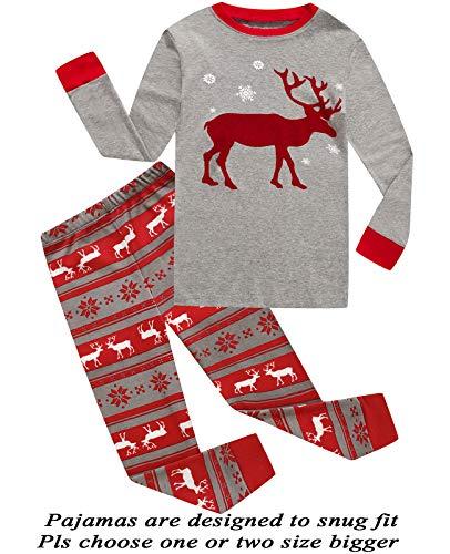 (Little Pajamas Christmas Reindeer Little Boys Girls Child Pajamas Sets 100% Cotton Toddler PJS 12T)