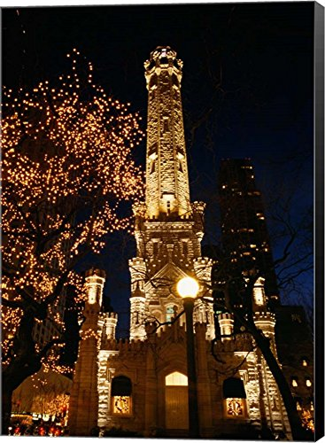 Old Water Tower, Chicago, Illinois by Panoramic Images Canvas Art Wall Picture, Museum Wrapped with Black Sides, 14 x 20 - Tower Illinois Chicago Water Place